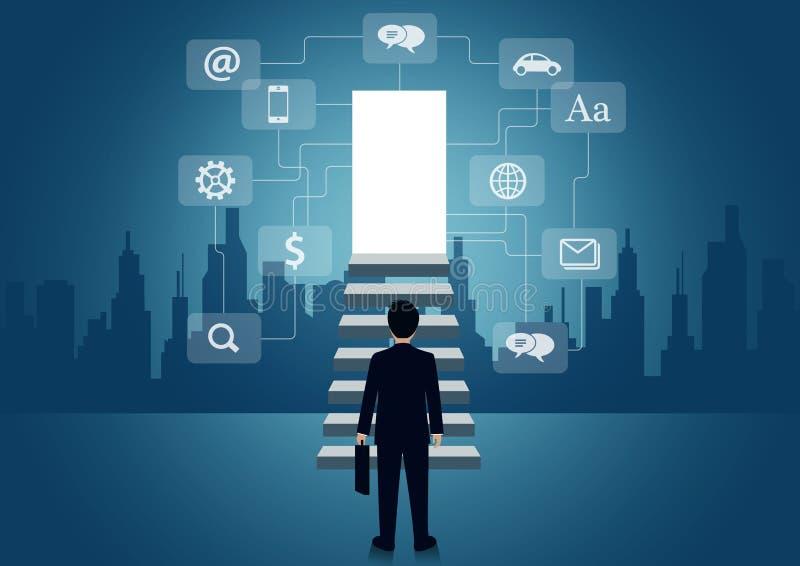 Los hombres de negocios caminan encima de la escalera a la puerta intensifique la escalera a la meta del éxito en vida y al progr ilustración del vector