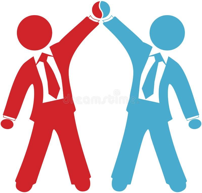 Los hombres de negocios celebran éxito del acuerdo del reparto libre illustration
