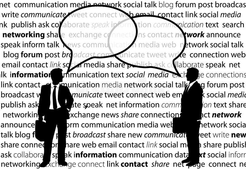 Los hombres de negocios comparten burbujas sociales de la charla de la red stock de ilustración