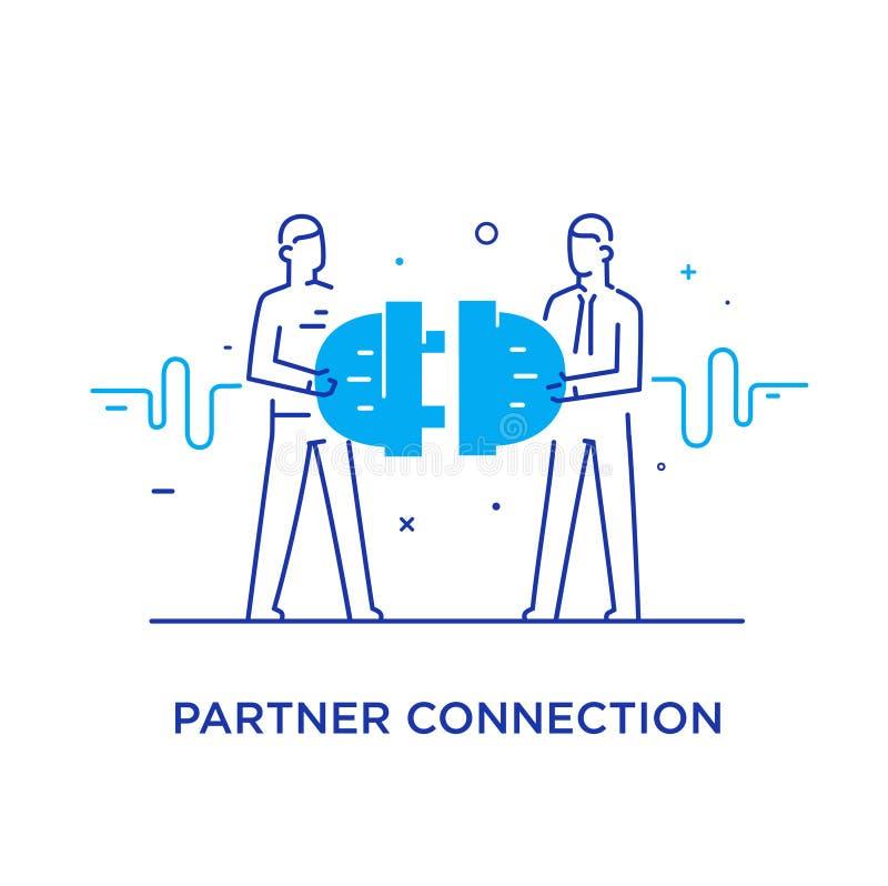 Los hombres de negocios conectan los conectores Interacción de la cooperación Éxito, cooperación línea ejemplo del icono ilustración del vector