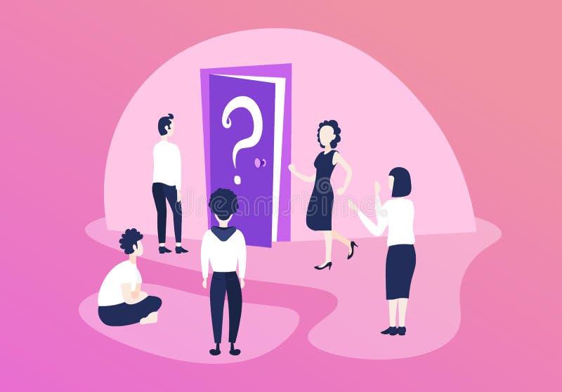 Los hombres de negocios confusos combinan el signo de interrogación de pensamiento de la puerta cuál es solución siguiente del pr stock de ilustración