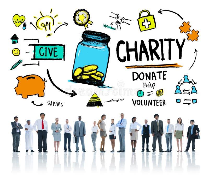 Los hombres de negocios corporativos dan ayuda donan concepto de la caridad fotos de archivo libres de regalías