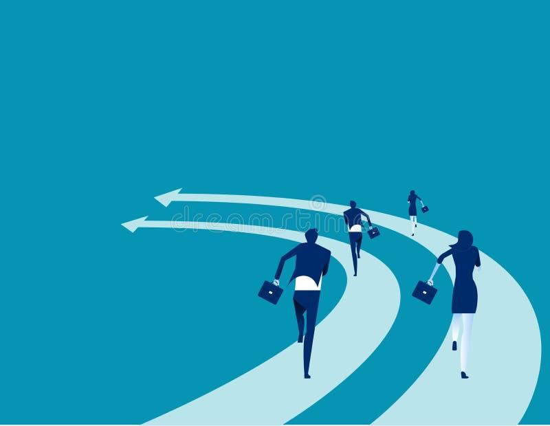 Los hombres de negocios corren en las flechas Ejemplo del vector de la competencia del negocio del concepto Historieta plana del  ilustración del vector