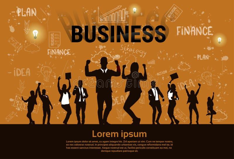Los hombres de negocios del control emocionado silueta del grupo dan encima de los brazos aumentados, éxito del ganador del conce ilustración del vector