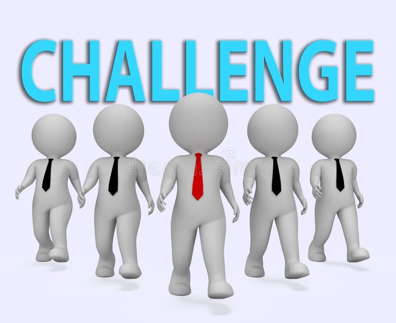 Los hombres de negocios del desafío muestran dificultades y la representación del hombre de negocios 3d ilustración del vector