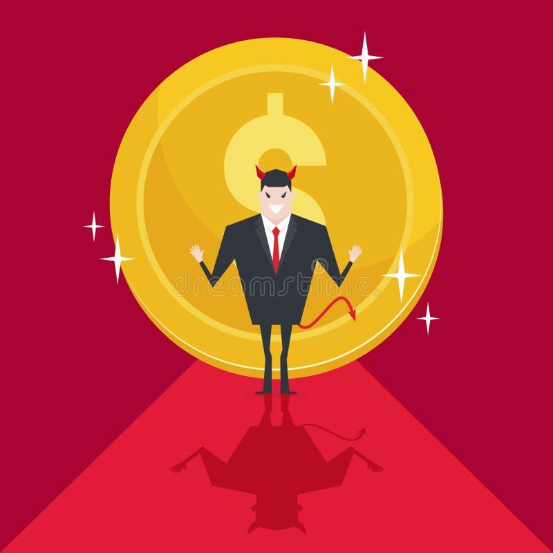 Los hombres de negocios del diablo tienen éxito con la moneda o el dinero grande de oro detrás ilustración del vector
