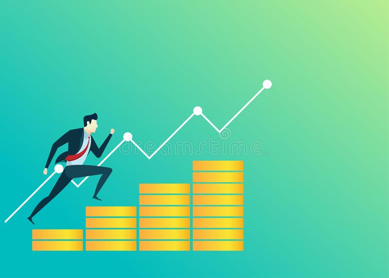 Los hombres de negocios del ejemplo del hombre de negocios saltan concepto de las finanzas del dinero ilustración del vector