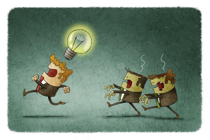 Los hombres de negocios del zombi roban ideas libre illustration