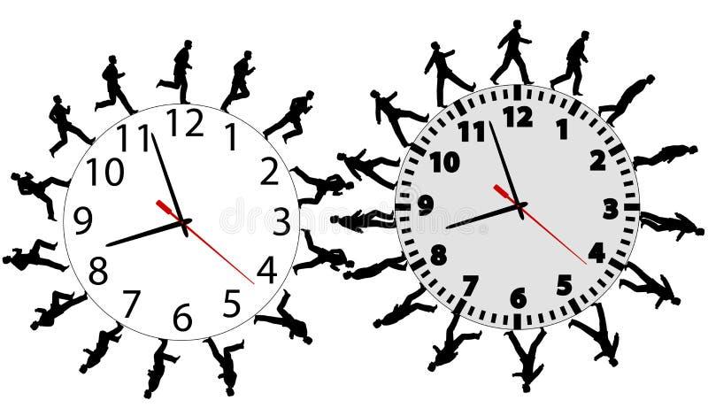 Los hombres de negocios en una prisa se ejecutan y recorren en los relojes de tiempo ilustración del vector