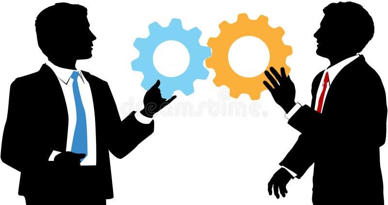 Los hombres de negocios ensamblan la solución de la colaboración de la tecnología stock de ilustración