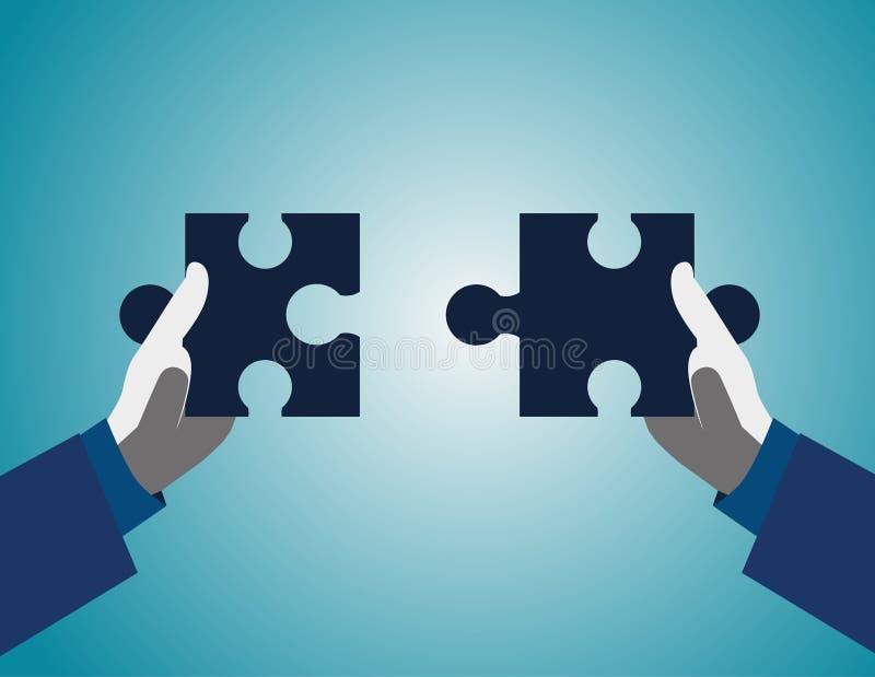 Los hombres de negocios están trabajando juntos para poner dos rompecabezas Coopera ilustración del vector