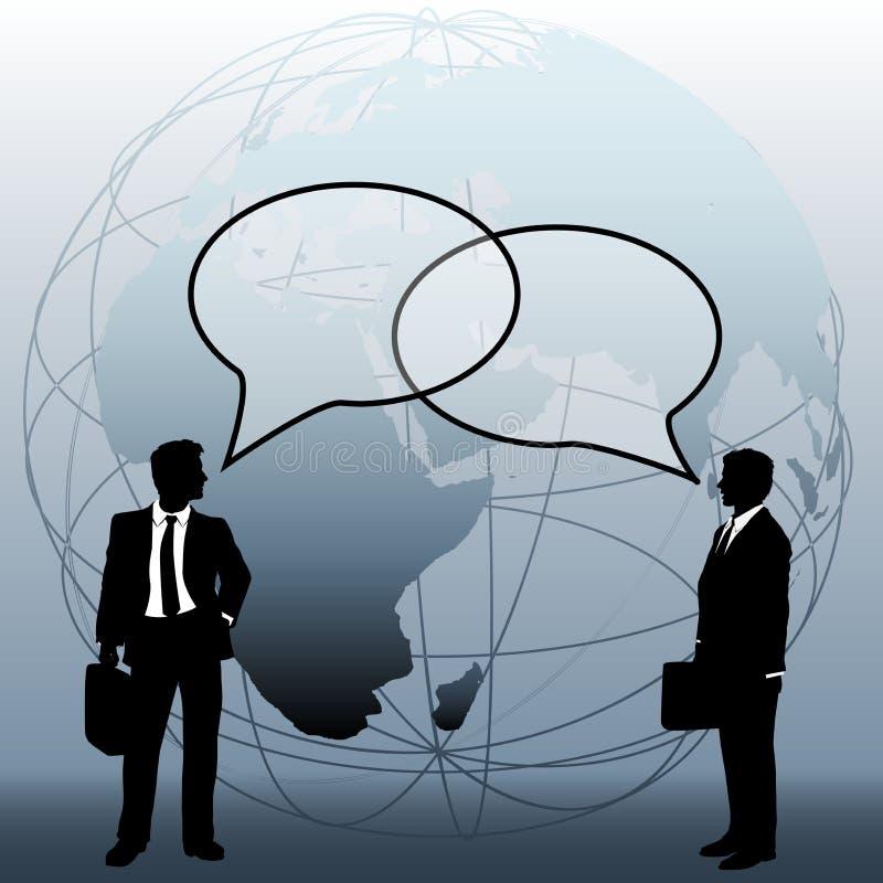 Los hombres de negocios globales de las personas conectan burbujas de la charla ilustración del vector
