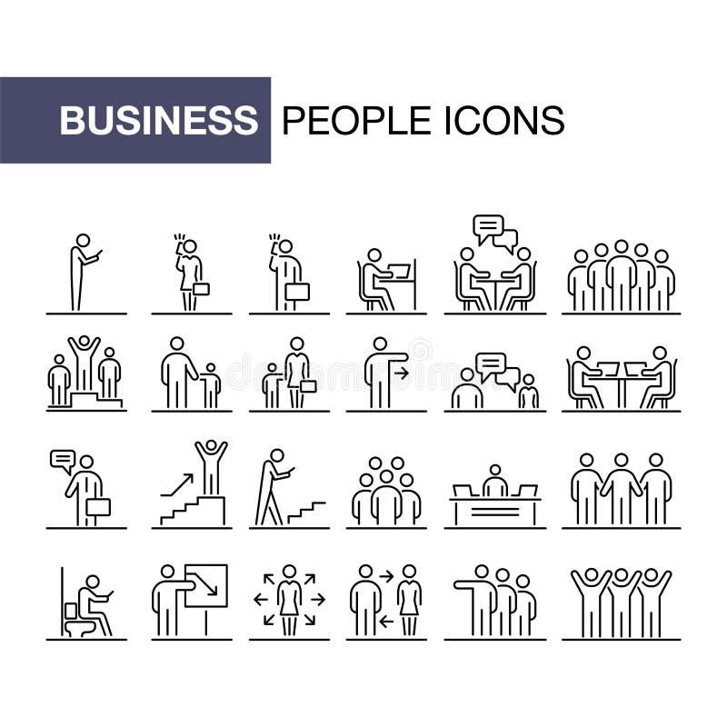 Los hombres de negocios 24 iconos fijaron la línea simple ejemplo plano ilustración del vector
