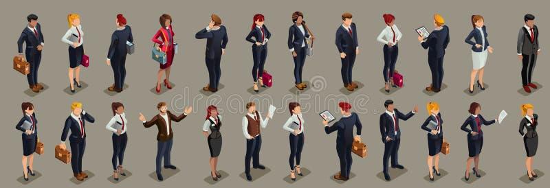 Los hombres de negocios ilustraron el traje oscuro isométrico de la gente stock de ilustración