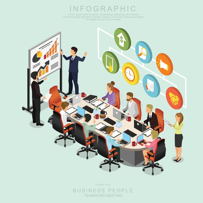 Los hombres de negocios isométricos de la reunión del trabajo en equipo en oficina, comparten la idea, diseño infographic L deter ilustración del vector