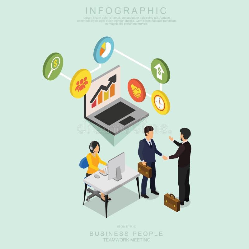 Los hombres de negocios isométricos de la reunión del trabajo en equipo en oficina, comparten la idea, diseño infographic R deter stock de ilustración