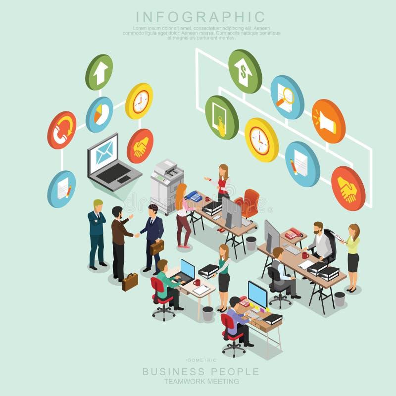 Los hombres de negocios isométricos de la reunión del trabajo en equipo en oficina, comparten la idea, diseño infographic T deter ilustración del vector
