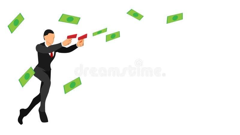 Los hombres de negocios lanzan los billetes con las herramientas caracteres planos del vector con colores sólidos plantilla en bl libre illustration