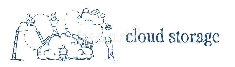 Los hombres de negocios de las escaleras en concepto de la sincronización de los ciclos de almacenamiento de la nube de los datos libre illustration