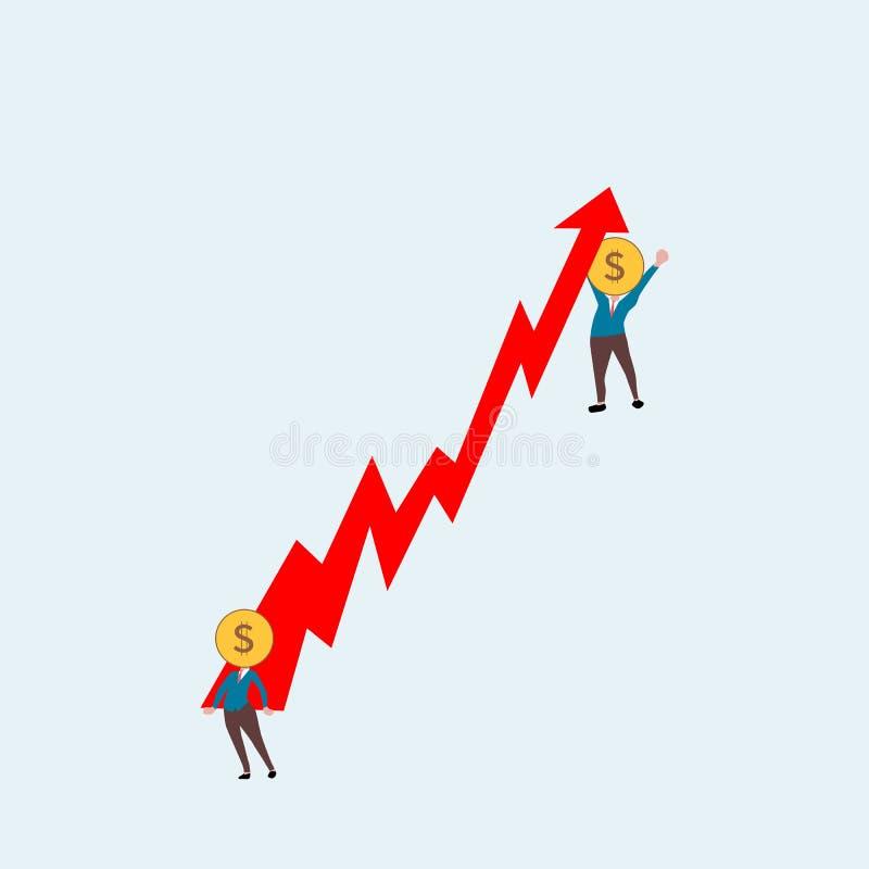 Los hombres de negocios levantan para arriba la flecha roja ser humano de la cabeza del dólar ilustración del vector