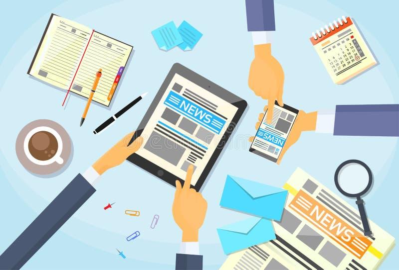 Los hombres de negocios leyeron el periódico, tableta Smart de las manos libre illustration