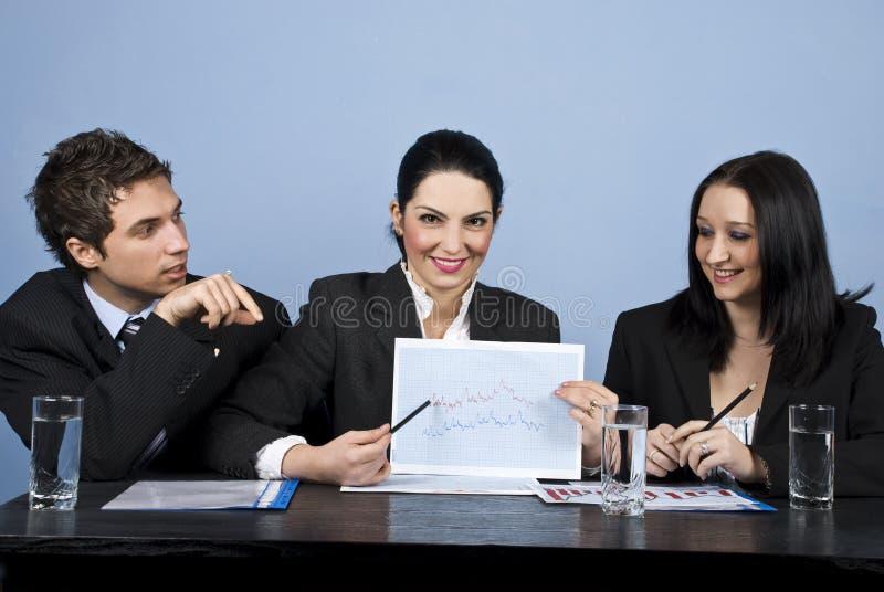 Los hombres de negocios muestran la carta financiera en la reunión imagenes de archivo