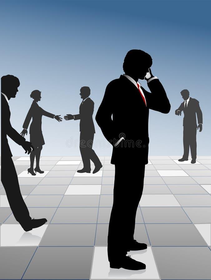 Los hombres de negocios ocupados de la red y conectan en red libre illustration