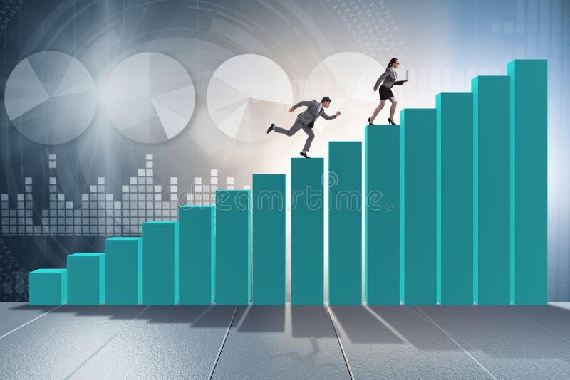 Los hombres de negocios de persecución en concepto de la competencia stock de ilustración