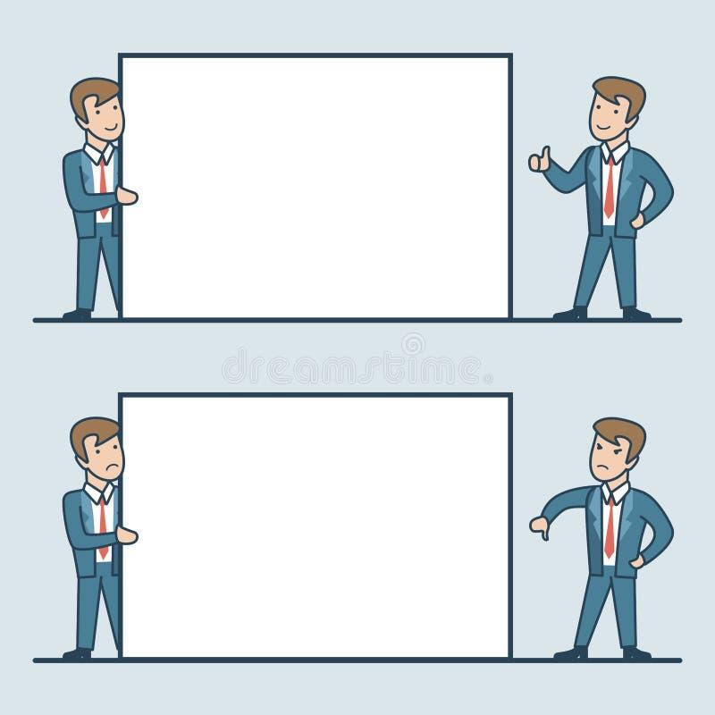 Los hombres de negocios planos lineares llevan a cabo el espacio en blanco blanco stock de ilustración