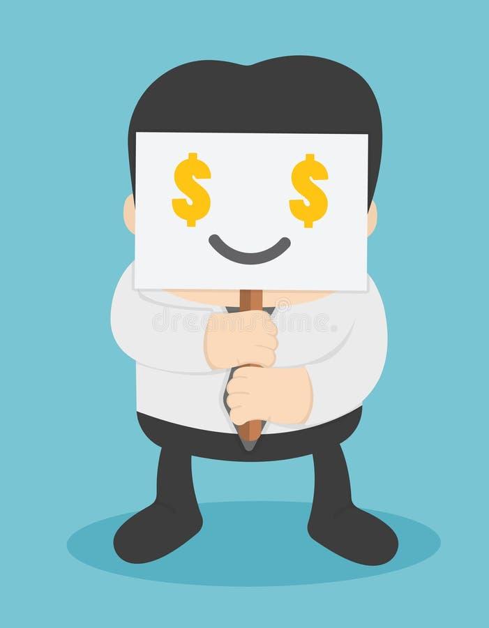 Los hombres de negocios que muestran el respecto por dinero y necesitan el dinero stock de ilustración