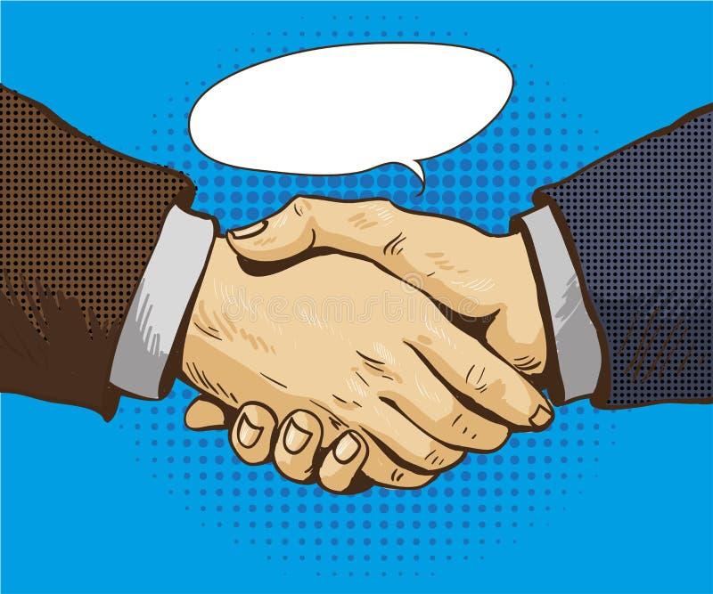 Los hombres de negocios sacuden el ejemplo del vector de las manos en estilo retro del arte pop Cartel del concepto del apretón d stock de ilustración