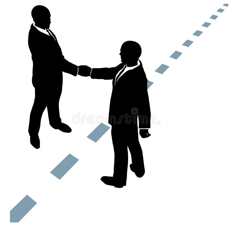 Los hombres de negocios sacuden las manos están de acuerdo con línea de puntos libre illustration