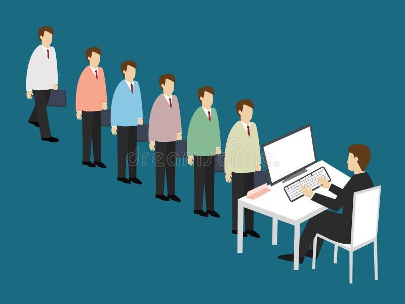 Los hombres de negocios se alinean para solicitar un trabajo Concepto del uso de trabajo stock de ilustración