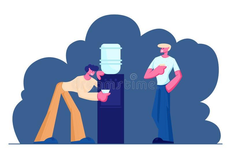 Los hombres de negocios se rompen en el trabajo Gente, colegas, oficinistas, amigos, café de consumición, té, agua del refrigerad stock de ilustración