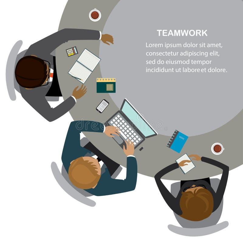 Los hombres de negocios se sientan en la tabla, trabajo del equipo, visión superior libre illustration