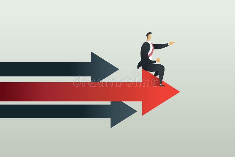 Los hombres de negocios sientan la trayectoria del punto a la meta en la flecha, ejemplo del vector del concepto fotos de archivo libres de regalías