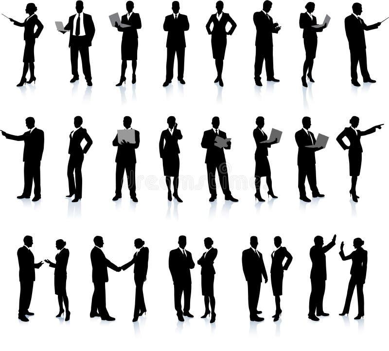 Los hombres de negocios siluetean el conjunto estupendo libre illustration