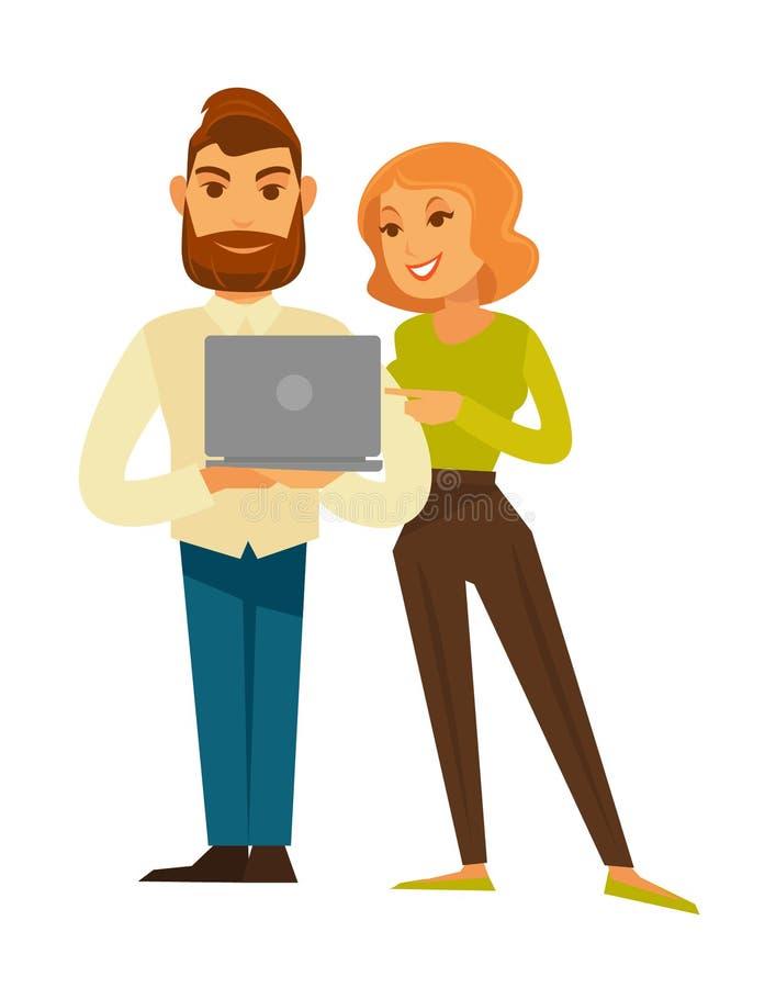 Los hombres de negocios sirven y mujer en casual con el ordenador portátil del vector libre illustration