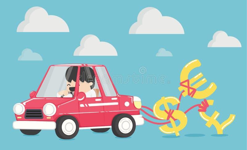 Los hombres de negocios son felices de conducir un coche feliz con el dinero ilustración del vector