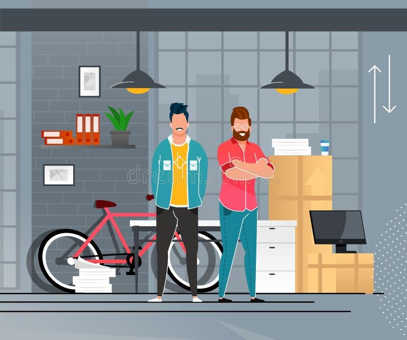 Los hombres de negocios sonrientes acertados se trasladan a la nueva oficina ilustración del vector