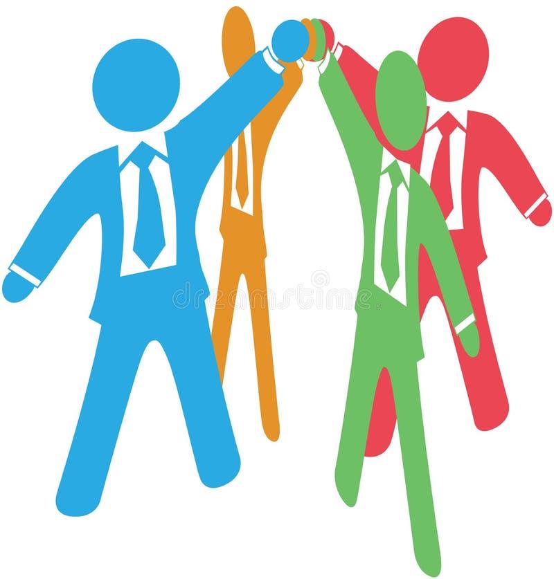 Los hombres de negocios team para arriba el trabajo ensamblan las manos ilustración del vector