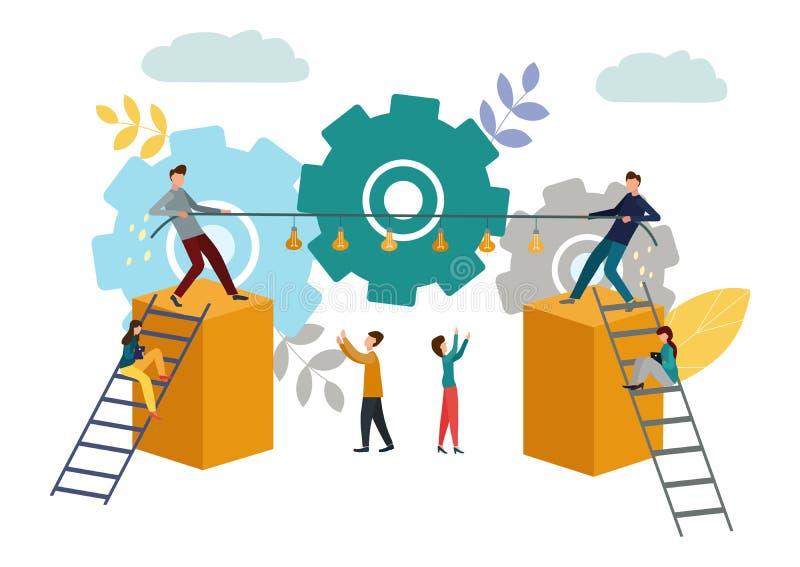 Los hombres de negocios tiran de la cuerda con las lámparas Imitación de la competencia en negocio Conflictos ideológicos Ilustra libre illustration