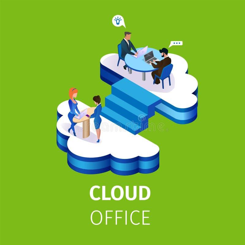 Los hombres de negocios trabajan en oficina de varios pisos de la nube stock de ilustración