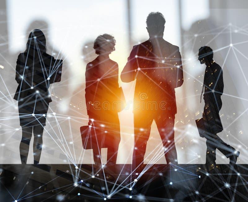 Los hombres de negocios trabajan juntos en oficina con efectos del Internet Concepto de trabajo en equipo y de sociedad doble fotografía de archivo libre de regalías
