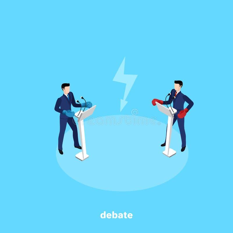 Los hombres en trajes de negocios y guantes de boxeo se colocan detrás de los soportes con un micrófono y conducen discusiones libre illustration
