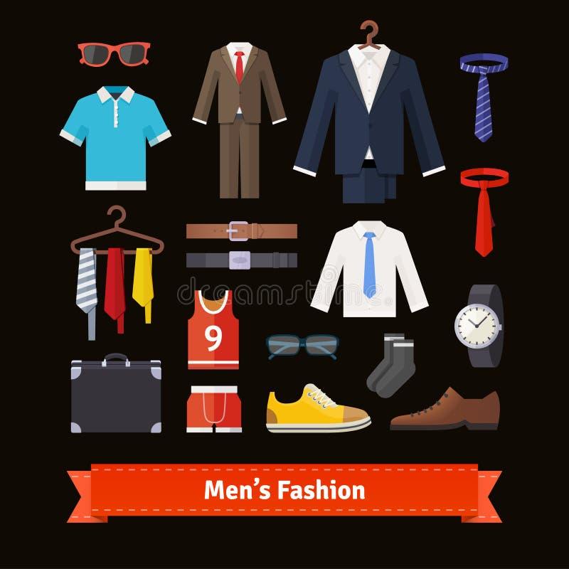 Los hombres forman el sistema plano colorido del icono libre illustration