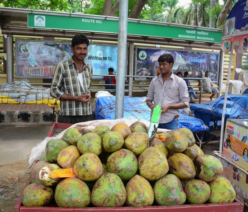 Los hombres indios venden las frutas del coco en la calle en Bodhgaya, la India imágenes de archivo libres de regalías