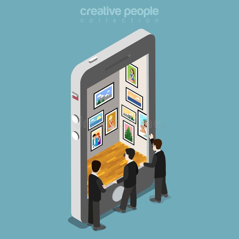 Los hombres isométricos planos llaman por teléfono a la pantalla virtual VE de la galería stock de ilustración