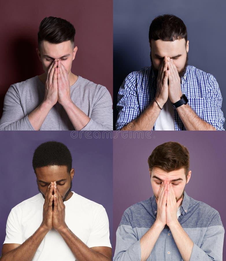 Los hombres jovenes diversos cierran las caras fijadas fotografía de archivo