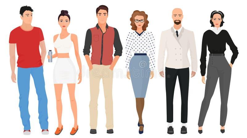 Los hombres jovenes hermosos de los individuos con las muchachas lindas hermosas modelan pares en ropa moderna de la moda de la c stock de ilustración